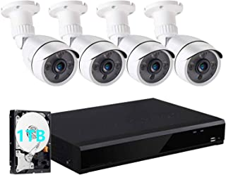 4CH Full HD 1080N/720P Expandable Security Camera System, 5 In 1 Surveillance DVR and 4X1.0MP Waterproof Outdoor Indoor Bu...