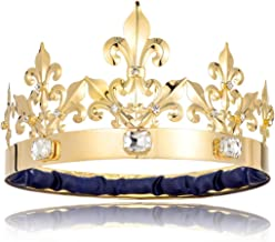 DcZeRong Adult Men King Crown Birthday Crown Prom King Crown Homecoming King Rhinestone Crown Gold