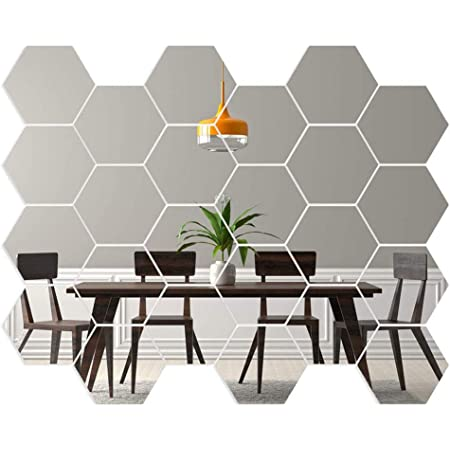 camera da letto DEDC 24 pezzi adesivi da parete a specchio esagonali rimovibili in acrilico per la decorazione di casa soggiorno