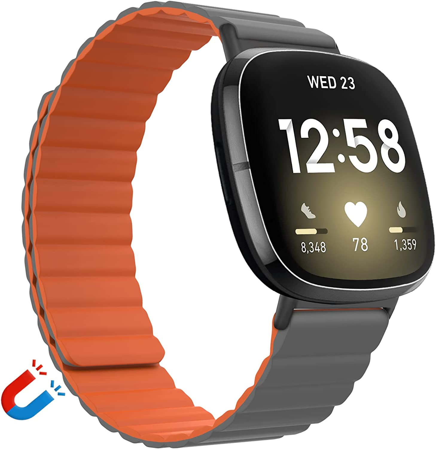 Vanet Silicone Magnetic Bands Compatible with Fitbit Versa 3/Fitbit Sense Bands for Women Men, Adjustable Silicone Loop Strap with Magnetic Closure Bands for Versa 3 Women, Small-Gray with Orange