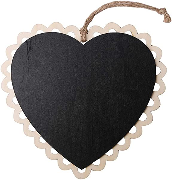 Zerama Hanging Wooden Chalkboard Lace Mini Blackboard Memo Message Writing Board Wedding Decoration