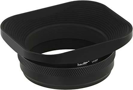 Haoge LH-E3T Square Rectangular Metal Lens Hood Shade with 49mm Adapte...