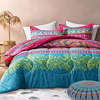 Uozzi Bedding 3 Piece Bohemian Style Comforter Set with Tribal Pink Printed Reversible Brushed Microfiber Lightweight Soft Comfortable Durable  Queen 90x90