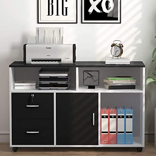 B07XXMR5M6✅Tribesigns File Cabinet, 2 Drawer Storage Printer Stand, Mobile Lateral Filing Cabinet with Locks and Wheels, Open Storage Shelves for Study, Home Office (Black&White)