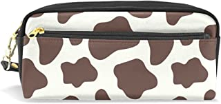 ALAZA Cow Pattern Print Pencil Case Zipper PU Leather Cosmetic Makeup Bag Multifunction Pen Stationery Pouch Bag Large Capacity