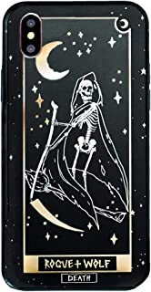 Rogue + Wolf Death Tarot Card Phone Case with Metallic Gold Mirror Details Compatible with iPhone 6 6S 7 8 Cases Wiccan Goth