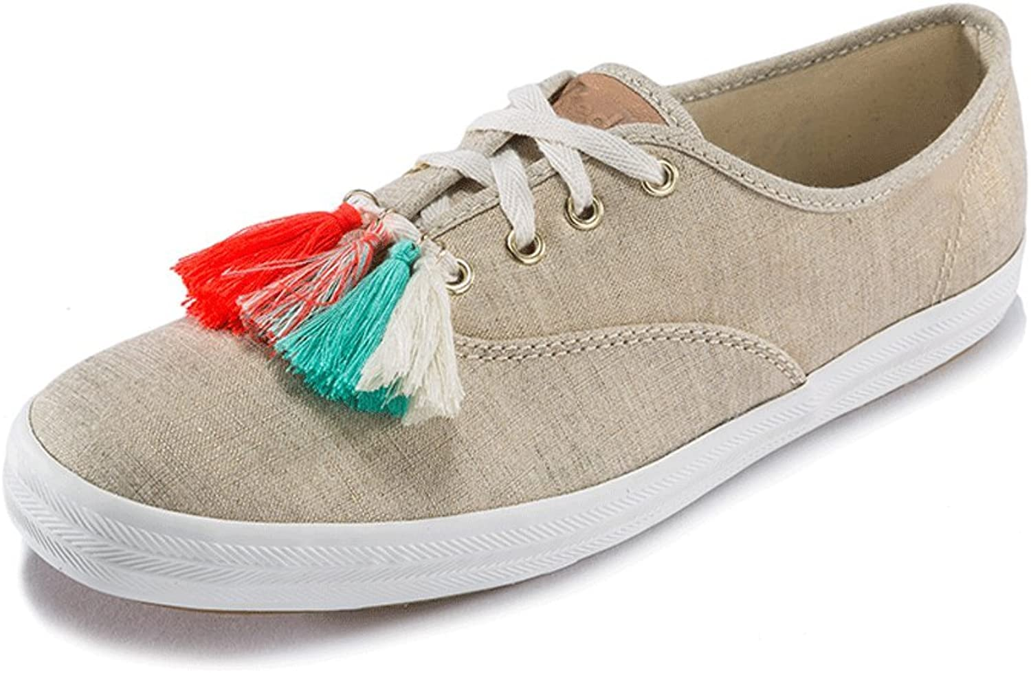 LIUXUEPING Summer Female Flat shoes Personality Street Canvas shoes Casual Tassel shoes (color   Brown, Size   37)