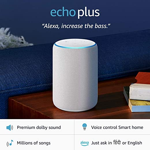 Echo Plus (2nd Gen) – Premium sound, powered by Dolby, built-in Smart Home hub (Black)