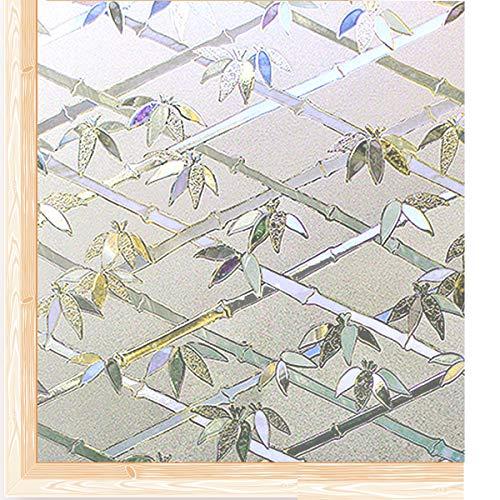 Qualsen Fensterfolie Sichtschutzfolie Privatsphäre Fensteraufkleber Selbstklebend Dekorfolie Anti-UV Folie (90cm x 200cm, 3D-Bambus)