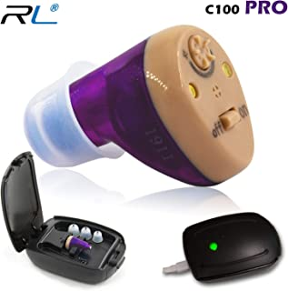 R&L Hearing Amplifier Rechargeable C100 PRO to Aid and Assist Hearing for Adults and Seniors, Equipped with Advanced Digital Chips for The Best Sound Clarity and Feedback Cancelling, Fit Both Ears