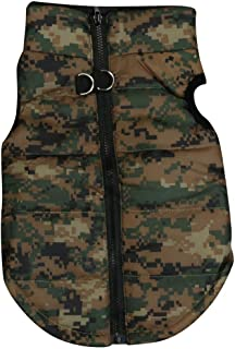 Pet Camouflage Cold Weather Coat, Small Dog Vest Harness Puppy Winter Padded Outfit Warm Garment