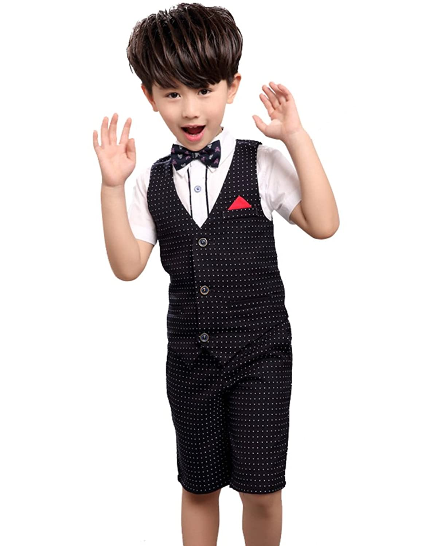 Cuteshower 子供フォーマル 半袖 男の子 スーツ ドット柄 結婚式 入学式 卒業式 七五三 4点セット