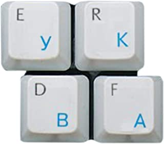 HQRP New Cyrillic Alphabet Russian/Ukrainian Laminated Keyboard Stickers On Transparent Background with Blue Lettering for...