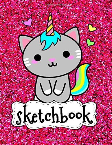 Sketchbook: Cute Funny Kawaii Cat On Pink Glitter Effect Background, Large Sketch Book For Girls, 120 Pages, 8.5' x 11', Blank Paper For Drawing, ... & Crayon Coloring (Girly Artist Gifts)