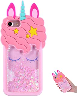 TopSZ Quicksand Unicorn Bling Case for iPhone 4/ iPhone 4S,Cute Silicone 3D Cartoon Cool Kawaii Animal Cover,Shockproof Soft c Skin,Funny Unique Character Cases for Kids Girls Teens Guys (iPhone 4/4S)