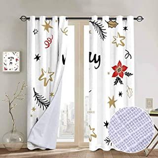 hengshu Joy Shading Insulated Curtain Christmas Themed Flowers Swirls Stars Celebratory Arrangement Merry Illustration for Living Room or Bedroom W84 x L96 Inch Camel Red Black