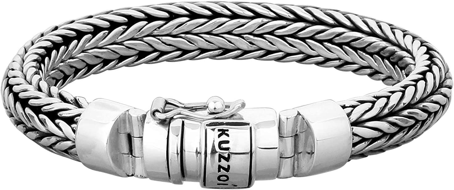 kuzzoi Men Al sold Ranking integrated 1st place out. Bracelet Wheat Chain massiv with 925 Made St Clasp of