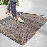 DEXI Schmutzfangmatte,rutschfeste Fußmatte für Innen und Außen,Waschbar Eingangsteppich Saugstarke Türmatte - Sauberlaufmatte 60 x 90 cm,Braun-blau