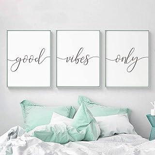MYSY Style scandinave Good Vibes Only Wall Art Citations inspirantes Posters et Impressions pour la décoration du Salon Pi...
