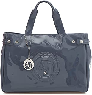 3297b5c43 Armani Jeans Medium Embossed Logo Patent Vinyl Bag (One size, Grigio)