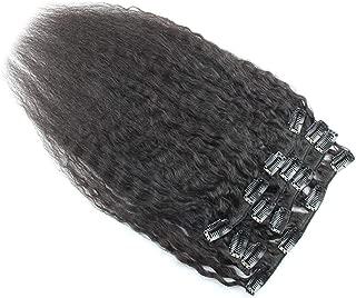 Keyu Virgin Human Hair Kinkys Straight Clip in Hair Extensions Coarse Yaki Brazilian Hair Kinky Straight Clip ins 7Pcs/Set 70Gram (12inch, Natural Black #1B)