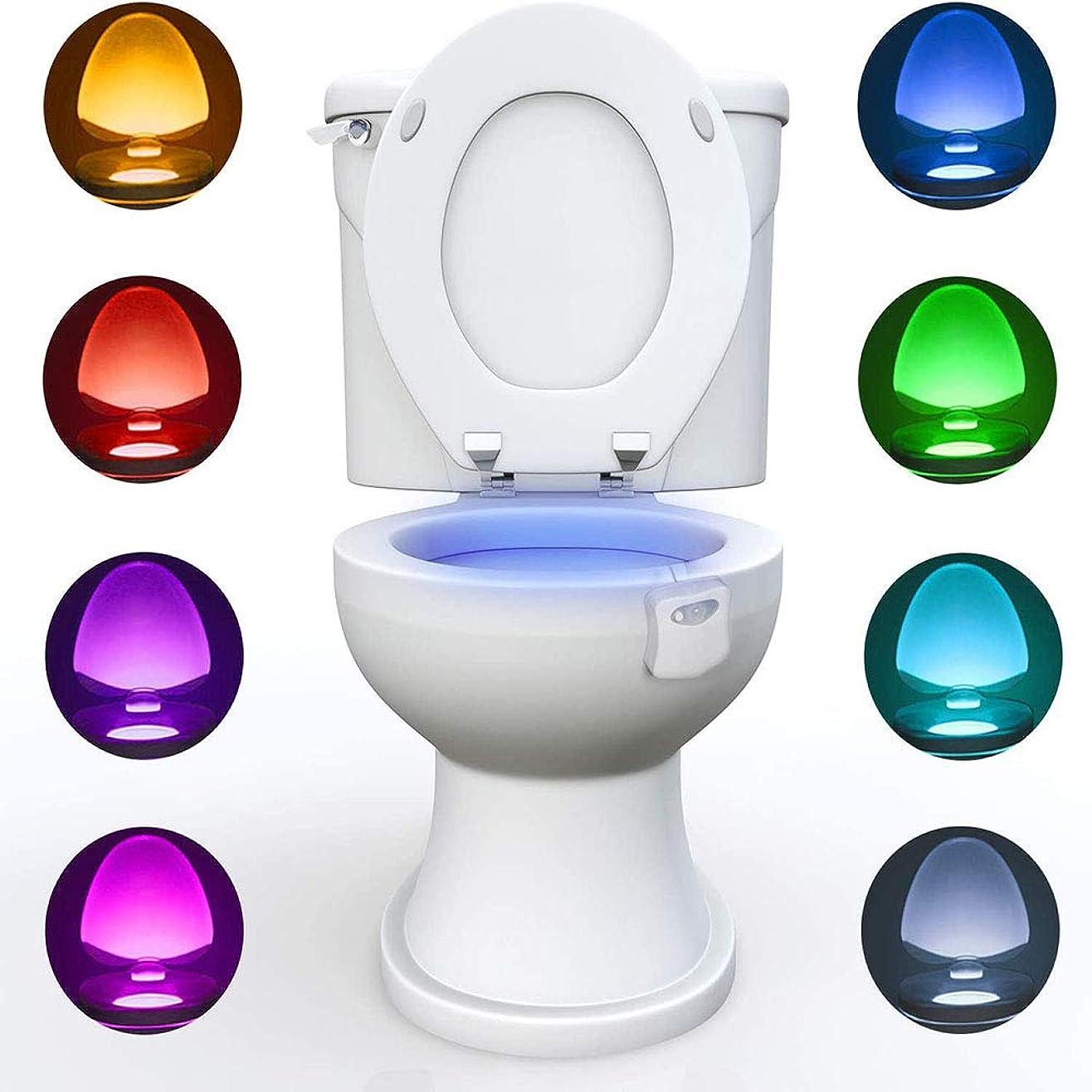 価値前置詞出撃者LEDトイレナイトライト、モーション作動トイレライトセンサー、バスルームトイレ用、PIRモーション作動、8色交換、バッテリー式