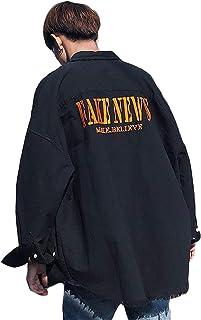 Bestmoodメンズ ジャケット ゆったり 厚手シャツ ダメージ加工 ストリート ゆる ジャンパー 韓国ファッション 長袖アウター