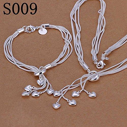 Taiji Hanging 5 Hartjes 2 Sets van Mode Hartvormige Zilveren Pak Set, zilver
