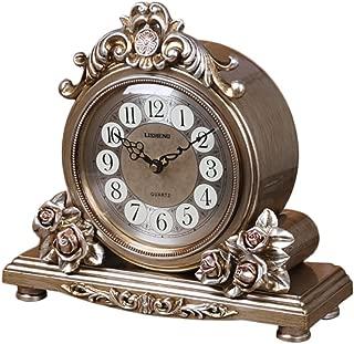 Clock Lanna Shop- Retro Mantel/Mantle Rhythm Quartz Living Room Desk Shelf Decoration (Color : Bronze)