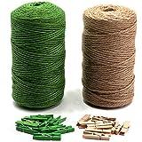 LIVEHITOP 200m Natural Cuerda de Yute, Verde Cordel de...