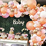 Rose Gold Balloon Garland Arch Kit, 152 Pieces Rose Gold Pink White and Gold Confetti Latex Balloons for Baby Shower Wedding Birthday Graduation Anniversary Bachelorette Party Background Decorations