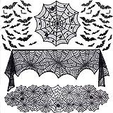 Evance 51 Pezzi Set di Decorazioni di Halloween, Tovaglia Rotonda Ragnatela, Sciarpa Camino Ragnatela, Corridore della Tabella di Halloween Spiderweb per Cena, Pipistrelli Adesivi 3D della Parete