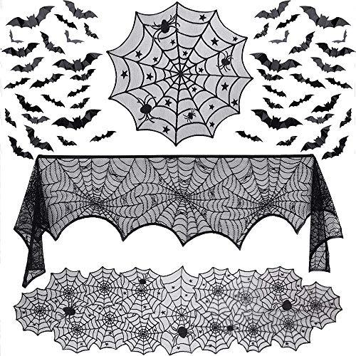 Evance 51 Piezas de Decoraciones de Halloween Set Incluyen Encaje araña Camino de Mesa, Cubierta de Mesa de Encaje Redondo, Chimenea Mantel Bufanda y 48 Piezas 3D murciélagos calcomanía de Pared