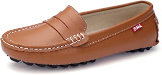 SUNROLAN Casual Women's Genuine Leather Penny Loafers Driving Moccasins Slip-On Boat Flats Shoes