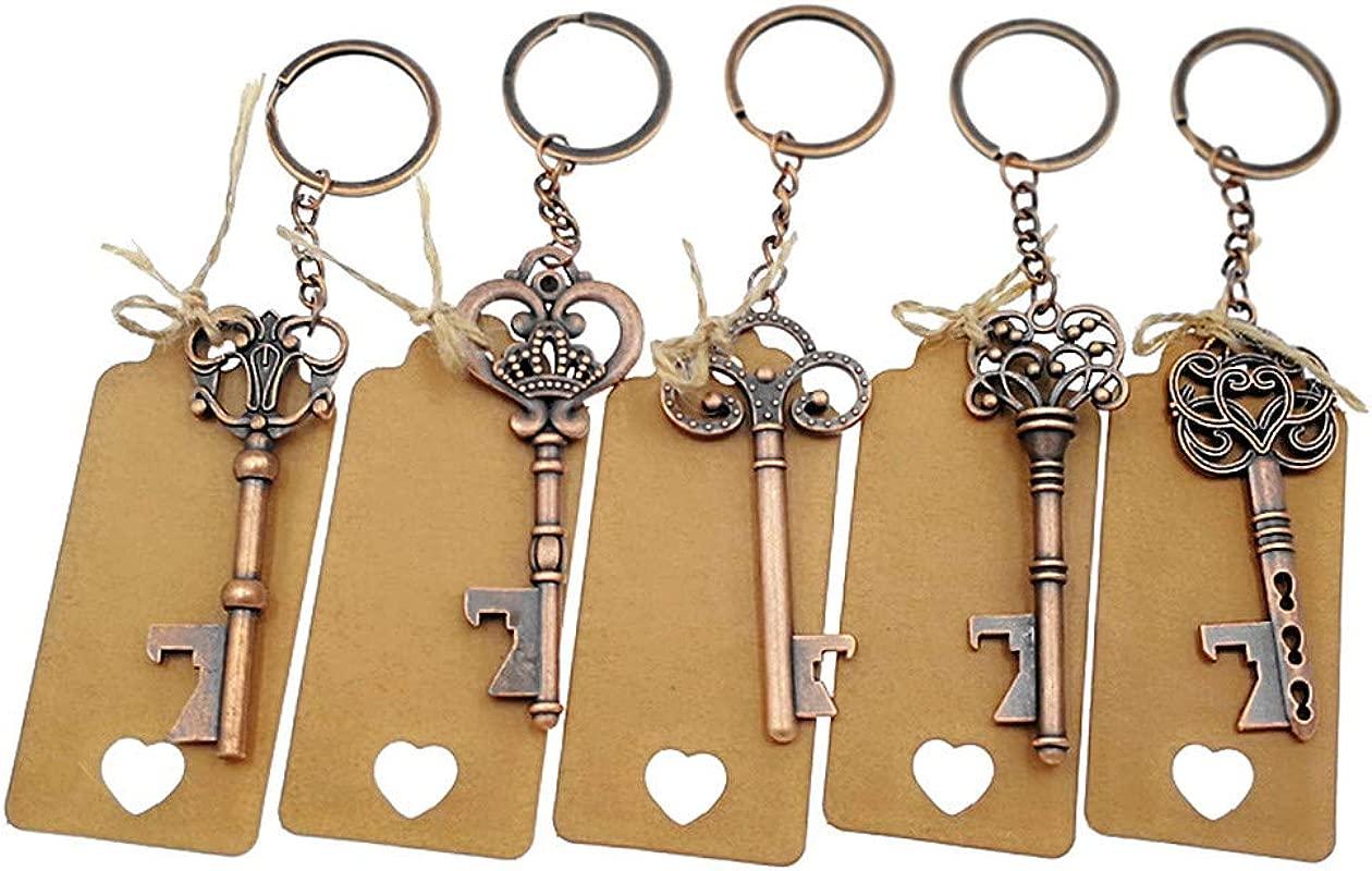 50pcs Skeleton Key Bottle Opener Wedding Party Favor Souvenir Gift With Keyring Escort Card Tag And Jute Rope Copper Keys