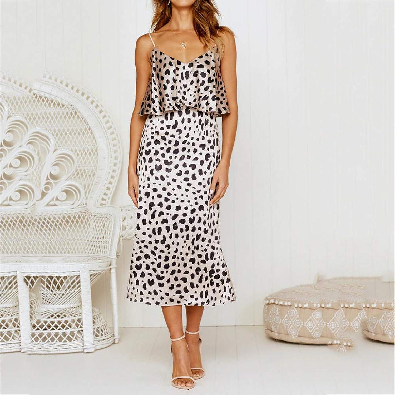 XIAOPANGHAI Womens Dress Holiday Summer Leopard Print Sleeveless Party Beach Dress Vestidos women Plus Size Elegant Dress