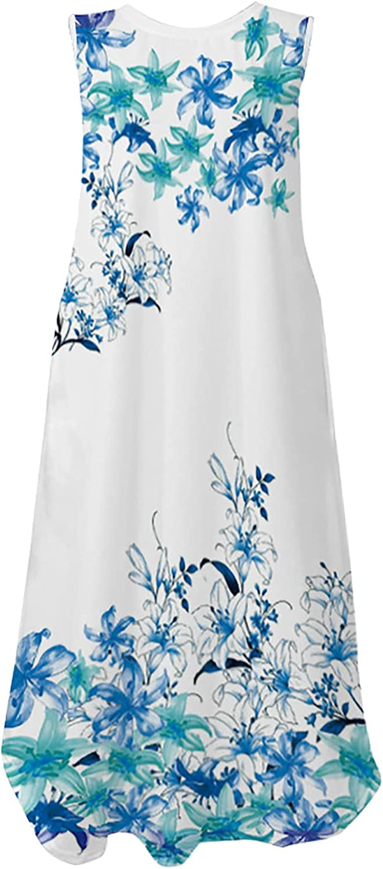 Summer Dresses for Women Casual Sleeveless Tank Dress Butterfly Graphic Print Sundress O Neck Cocktail Dress Long Skirt