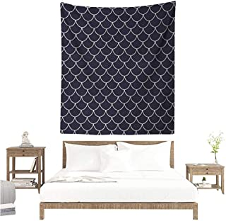 Navy DIY Tapestry Shell Pattern with Half Circled Lines Like Ocean Waves Nautical Modern Illustration Tapestry for Home Decor 60W x 80L INCH Indigo White