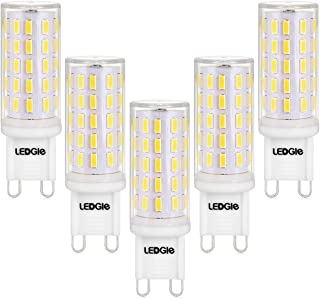 LEDGLE 6W G9 LED Light Bulbs,60W Halogen Equivalent, 54LEDS,420lm,Daylight White, 6000K, No-Flicker, Non-dimmable,Wide Beam Angle for Home Lighting,5 Pack