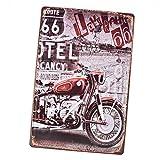 Sharplace Panneau Métallique Peinture Plaque D'étain Vintage Mural Affiche D'art Café Bar Pub Bière - ROUTE 66 avec Red Motorcycle
