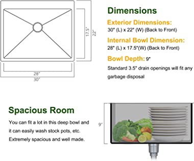 Bonnlo 30 Inch Drop-in Kitchen Sink 18 Gauge T304 Stainless Steel Single Bowl Topmount Sink, 30 x 22 x 9 inch