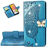 LEMAXELERS Samsung Galaxy S8 Case Bling Diamond Butterfly Embossed Wallet Flip PU Leather Magnetic Card Slots with Stand Cover for Samsung Galaxy S8 Diamond Butterfly Blue SD