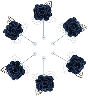 Buery 6 Pieces/lot Wedding Boutonniere Handmade Rose Boutonniere Corsage with Pin, Lapel Pin Rose Wedding Boutonniere for Wedding Prom Party Decor (Rhinestone Dark Blue)