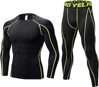 Men's Tracksuit Athletic Sports Casual ,Long Sleeve Tight Men's Sports Suit,Tight Long Top and Bottom Set,Lightweight, Com...