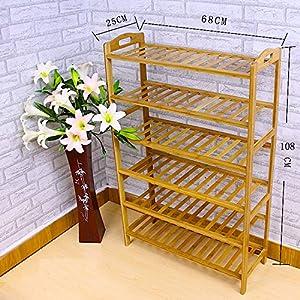 EVST Zapatero de madera de bambú natural con 3, 4, 5 ó 6 niveles 6-Tier