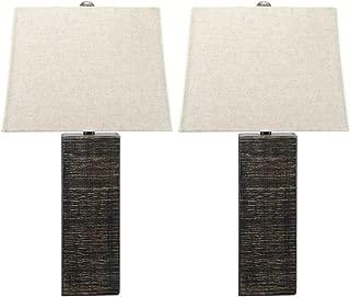 Ashley Furniture Signature Design - Mahak Wood Table Lamps with Square Hardback Shade - Set of 2 -Black