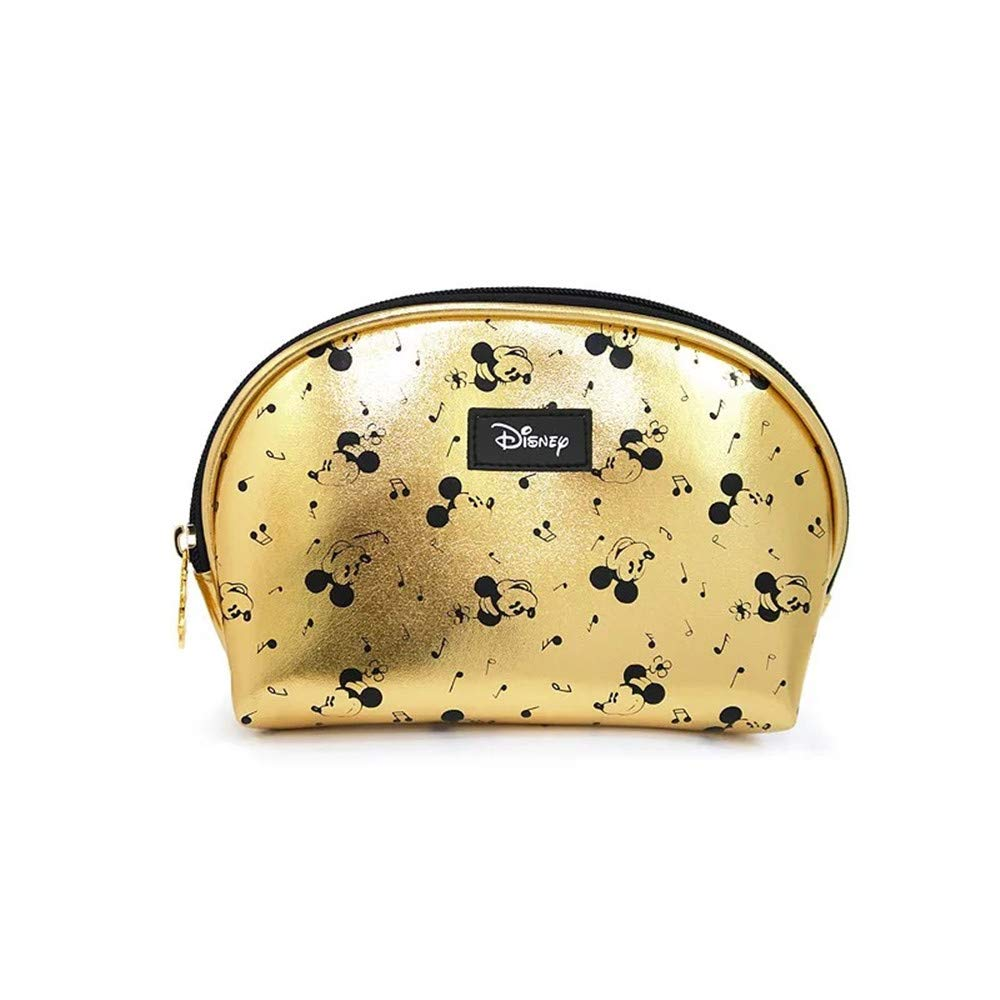 Very popular Mickey Mouse Cosmetics Bag Gold Make-up Trav Limited Special Price Leather Storage