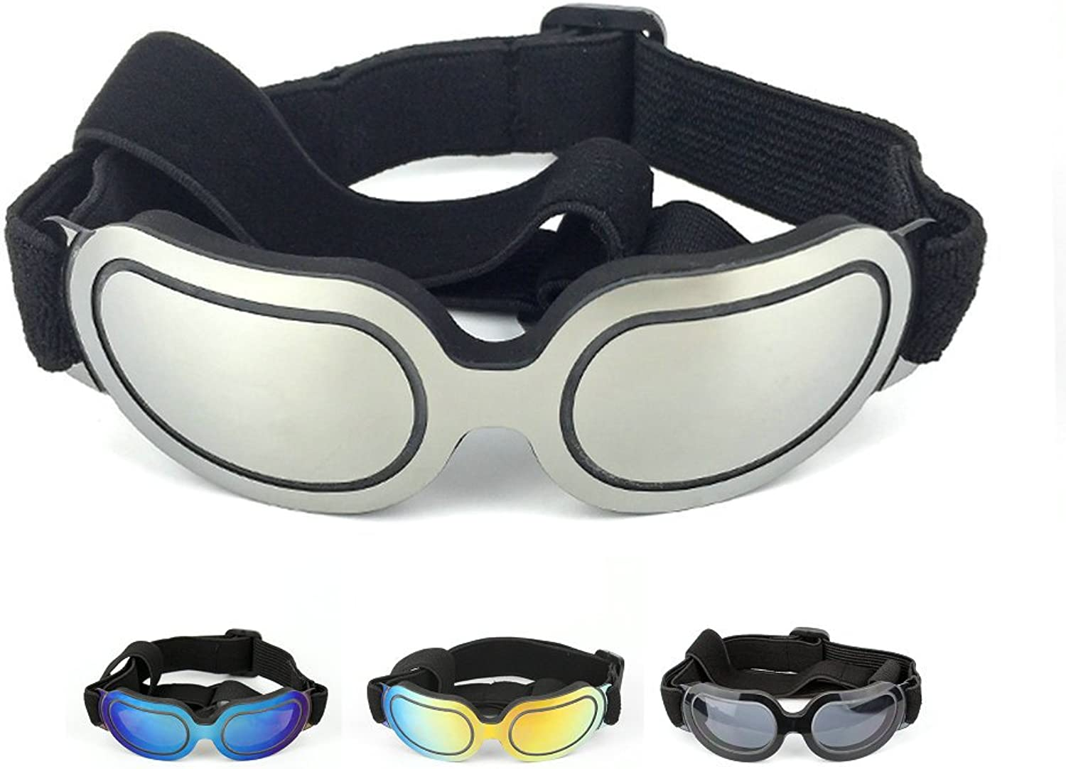 Petvins Doggie Goggles Dog Sunglasses Fashion Pet Eyewear UV Predection Waterproof for Cat Doggy Puppy Small Silver