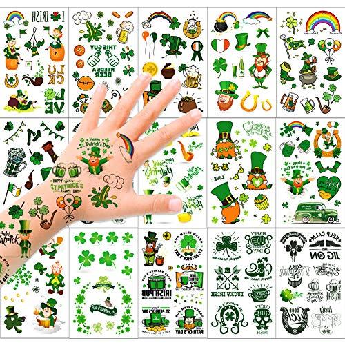 HOWAF Saint Patrick Tatouages Temporaires, Tatouages Trèfle Imperméable Irlandais Visage Tatouage Corps Autocollants pour Enfants Femme Homme Accessoire Saint-Patrick Décorations, 14 Feuilles
