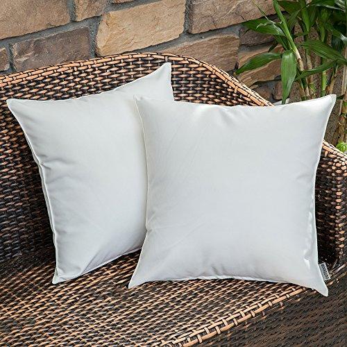 MIULEE Packung von 2 wasserdichte Sofa Kissenbezug Kissenhülle im freien Set Kissen Fall für Sofa Schlafzimmer 18x18 inch 45x45 cm Nicht-gerade Weiss